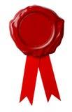 与查出的丝带的红色蜡密封 库存图片