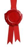 与查出的丝带的红色蜡密封 免版税库存图片