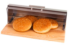 与查出的产谷物区小圆面包 库存照片