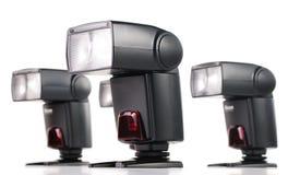 与查出的四照相机闪光的构成 免版税库存照片