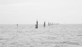 与柱子的黑&白色平安的海海景 免版税库存图片