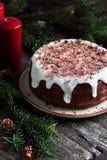 与柿子的自创蛋糕,装饰用结冰 免版税库存图片