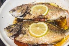 与标度的新鲜的油煎的被烘烤的在煎锅的鱼和柠檬 免版税库存图片