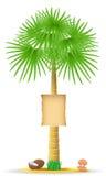 与标志传染媒介例证的棕榈树 免版税库存照片