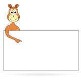 与标志板的动画片猴子 免版税库存图片