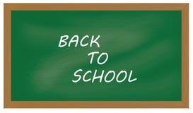 与标志的绿色黑板背景例证回到学校 免版税库存照片
