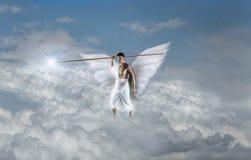 与标枪的天使 免版税图库摄影