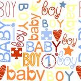 与标签男婴的无缝的孩子样式 免版税图库摄影