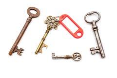 与标签的一把古色古香的钥匙 库存照片