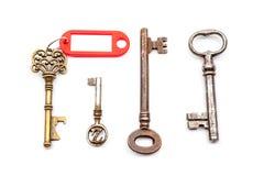 与标签的一把古色古香的钥匙 图库摄影