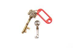 与标签的一把古色古香的钥匙 免版税库存图片