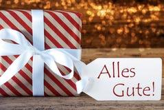 与标签, Alles Gute的大气圣诞节礼物意味最好祝愿 免版税库存图片