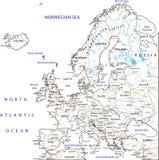 与标记的高详细的欧洲路线图 库存例证