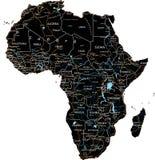 与标记的高详细的非洲路线图-黑 库存例证