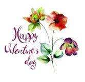 与标题愉快的Valentine's的鸦片、大丁草和郁金香花 免版税库存图片