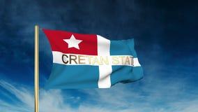 与标题的克里特岛状态旗子滑子样式 挥动 库存例证