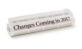 2017年与标题的报纸改变进来 免版税库存照片