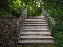 与栏杆的板岩梯子 免版税库存照片