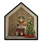 与树、壁炉和礼物的圣诞前夕 背景查出的白色 免版税库存图片