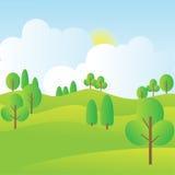 与树、蓝天、日出和云彩的小山风景 免版税图库摄影