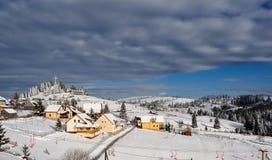 与树、雪、云彩和蓝天的冬天风景 免版税库存照片