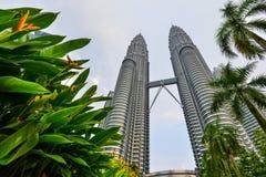 与树前景的双塔在吉隆坡,马来西亚 免版税图库摄影
