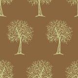 与树剪影的传染媒介无缝的样式 免版税库存照片