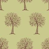 与树剪影的传染媒介无缝的样式 库存照片