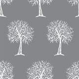 与树剪影的传染媒介无缝的样式 免版税库存图片