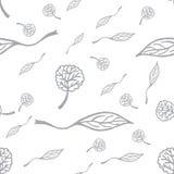 与树叶子的无缝的样式 库存照片