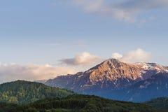 与树和一点雪的山景在上面在晚上 库存照片