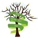 与树和丝带的生态卡片 库存图片