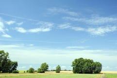 与树和云彩的美好的绿色晴朗的农村风景 免版税库存图片