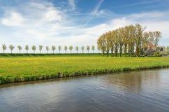 与树和农舍行的堤堰在贝姆斯特尔开拓地 库存图片
