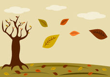 与树和叶子自然的秋天背景晒干例证 免版税库存照片