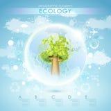 与树和地球的明亮的传染媒介生态模板 库存照片