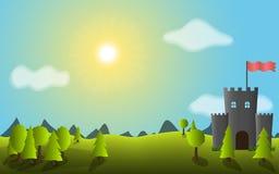 与树和城堡的传染媒介风景 免版税库存图片