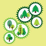 与树和杉木的环境标志 抽象齿轮 库存图片
