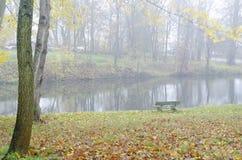 与树和池塘的秋天场面 免版税图库摄影