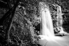 与树和瀑布的黑白风景 科尔莱奥内,西西里岛 库存图片
