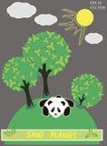 与树和熊猫传染媒介的绿色行星 免版税库存照片