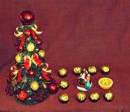 与树和糖果和图16日(2016年,新的Ye的圣诞节动机 库存照片