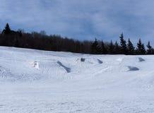 与树和蓝天的滑雪小山 库存图片