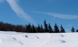 与树和蓝天的滑雪小山 免版税图库摄影