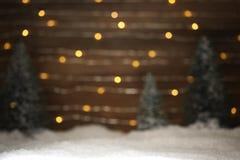 与树和雪的冬天场面 库存图片