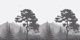 与树和鸟的山风景 免版税库存照片