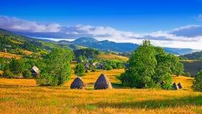 与树木丛生的小山和干草堆的美好的乡下风景在山的一个象草的农村领域的 免版税库存照片