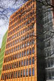 与树枝的五颜六色的现代大厦在伦敦,英国垂直 免版税库存图片