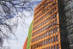 与树枝的五颜六色的现代大厦在伦敦 免版税库存图片