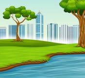 与树河和城市的绿色风景 库存例证